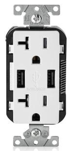 T5832-W LEV 20A/125V 2P3W DECORA DPLX RECEP W/ USB TAMP RES WHITE 5-20R