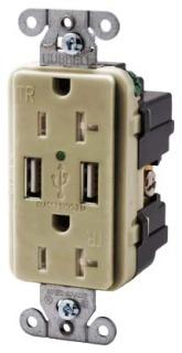 USB20X2I HUBBELL RECEP, DUP, 20A 125V, 3A 5V USB PORT, IV 88377830483
