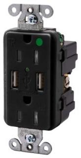 USB8200BK HUBBELL RECEP, DUP, HG, 15A 125V, 3.8A 5V USB,BK 88377830495