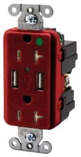 USB8300R HUBBELL RECEP, DUP, HG, 20A 125V, 3A 5V USB, RD 88377830507