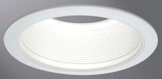 6100WB HAL 6IN WHITE TAPERED METAL BAFFLE, 2-WHITE RINGS NARROW & WIDE