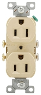 CR15V CWD IVORY DUPLEX RCPT SIDE WIRED 15A125V 5-15R