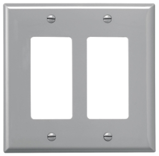 PJ262GY CWD WALLPLATE 2G DECORATOR POLY MID GY