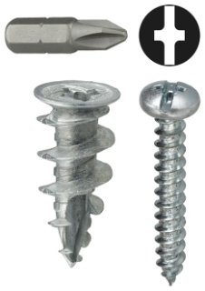 WDK8 DOTTIE #8 ANCHOR KIT WALL DRILLER ( ZINC ) INCLUDES PHILLIPS