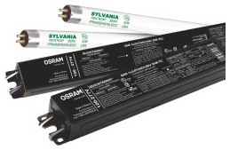 QHE-2x54T5HO/UNV-DIM-TCL SYLVANIA High Efficiency 2 lamp, 54W T5HO electronic dimming ballast, Universal Voltage, powers FP54T5HO, FT55DL and FPC55 Circline lamps 04613551467