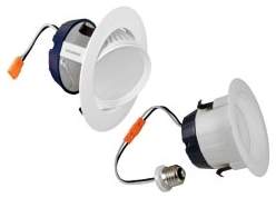 LEDRT4600940 74288 SYLVANIA 600LM 4000K, 90CRI, 4IN LED RECESSED DOWNLIGHT KIT REPLACING UP TO 50W INCANDESCENT R30. MEDIUM BASE SOCKET ADAPTOR AND INTEGRATED WHITE TRIM INCLUDED.