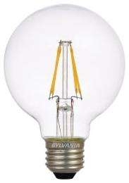LED4.5G25DIM827FILG2RP 74587 SYLVANIA LED G25, 4.5W, DIMMABLE, 80CRI, 450 LUMEN, 2700K, 15000 LIFE