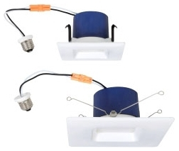 LEDRTQ4600927/74925 SYLVANIA 600LM 2700K 90CRI, SQUARE LED RECESSED DOWNLIGHT KIT REPLACING UP TO 50W INCANDESCENT BR30, SUITABLE FOR 4