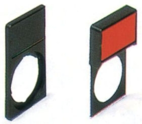 P9ARTBS GEC LEGEND PLATE HOLDER RD NP HOLDER W/BLANK INSERT-RED/BLK 10GC 801701888000