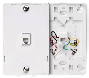 40214W LEV PHONE WALL MOUNT W/PLATE 6P4C WHITE