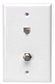 40258W LEV PHONE/CATV WALL MOUNT W/PLATE 6P6C WHITE