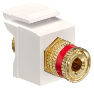 40833-BTR LEV F-TYPE SNAP IN GOLD/RED BINDING POST QUICKPORT LT ALMOND