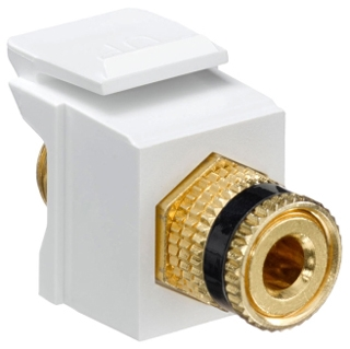 40833-BWE LEV F-TYPE SNAP IN GOLD/BLACK BINDING POST QUICKPORT WHITE