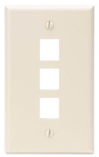 41080-3TP LEV 3-PORT WALL PLATE - FIELD CONFIG LT ALMOND