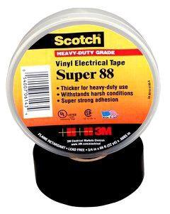 SUPER88-3/4X66 MMM 8.5MIL ALL WEATHER BLACK ELECT. TAPE
