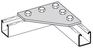 B556ZN B-LINE FIVE HOLE CORNER GUSSET PLATE, ZINC PLATED 78101155851