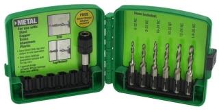 DTAPKITM GRE 6-PIECE METRIC DRILL/TAP SET 3M, 4M, 5M, 6M, 8M, 10M W/PLASTIC CASE