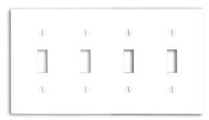 88012 LEV 4G COMB PLATE W/4 TOGGLE WHITE