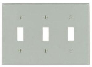 87011 LEV 3G COMB PLATE W/3 TOGGLE GRAY
