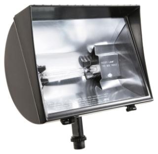 QF500F RAB BRONZE 500W QUARTZ DC FLOOD FIXT. W/LAMP