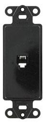 40649-E LEV PHONE DECORA INSERT 4C RJ11 BLACK