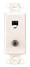 40659-W LEV PHONE/F CONN DECORA INSERT 6P4C WHITE