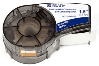 M21-1500-427 BRADY .5 X 1.5 SELF LAMINATING VINYL BLACK ON WHITE