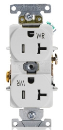TWR20-W LEV 20A/125V 2P3W DPLX RECEP TAMP & WEATHER RES WHITE 5-20R