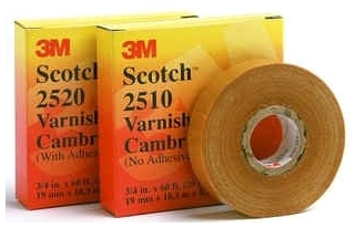 2520-1-1/2X36YD MMM YEL. VARNISHED CAMBRIC ADHESIVE TAPE