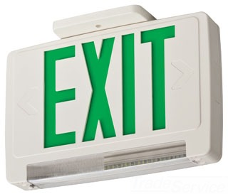 ECBR-LED-M6 LITHONIA WHITE THERMOPLASTIC EMERGENCY EXIT/UNIT COMBO WITH INTEGRATED LED EMERGENCY LIGHT, RED SINGLE FACE WITH EXTRA FACE PLATE AND COLOR PANEL, NI-CAD BATTERY BACK-UP (CI# 210LCV)