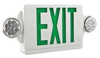 LHQMLEDRHOR0M6 LITHONIA WHITE THERMOPLASTIC, LED EXIT/ADJUSTABLE LED 2 HEADED UNIT COMBO, SINGLE STENCIL FACE, WITH EXTRA FACE PLATE, RED LETTERS, HIGH OUTPUT NI-CAD BATTERY, LESS HEADS, DAMP LOCATION (CI# 186HUE)