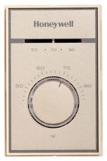T651A3018 HONEYWELL THERMOSTAT LINE VOLT HEATING OR COOLING, MAKES COOLING ON TEMPERATURE RISE