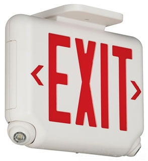 EVCURWD4 DUAL LITE ARCHITECTURAL LED COMBINATION EXIT/EMERGENCY LIGHT, UNIVERSAL FACE, RED LETTER COLOR, WHITE FINISH, 2 LED REMOTE CAPACITY.
