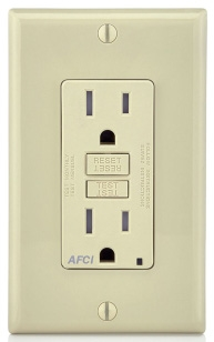 AFTR1-I LEV 15A/125V AFCI RECEP W/LED IND LIGHT TAMP RES IVORY