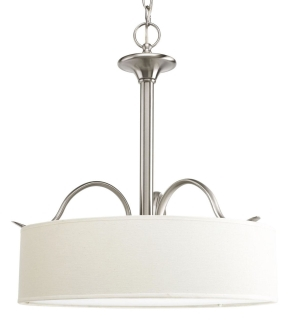 P3931-09 PROGRESS DRUM PENDANT NKL / WHITE LINEN 3-100W