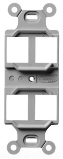 Q106G HUBBELL STYLELINE DUPLEX OUTLET FRAME, 4 P,GY