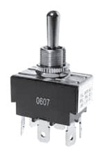 SS208CP-BG SELECTA SWITCH, TOGGLE DPDT, (ON)-OFF-(ON), 20A 125VAC .250 Q.C., 15/32