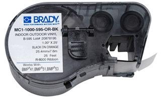 MC1-1000-595-OR-BK BRADY MSERIES B595 BLK/ORG 1.0