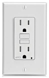 AFTR1-W LEV 15A/125V AFCI RECEP W/LED IND LIGHT TAMP RES WHITE