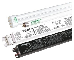 QHE4X54T5/HO-UNVPSNHTSCL-DOE SYLVANIA HIGH EFFICIENCY 4 LAMP PROGRAM START UNV VOLTAGE WITH LEADS IN A 10 PACK THAT RUNS 4 OR 3 54 W LAMPS, DOE COMPLIANT 52665