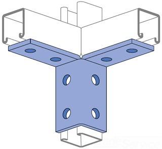 UNISTRT P2225EG 8-HOLE 2-CORNER WING SHAPE FITTING ELECTRO-GALVANIZED