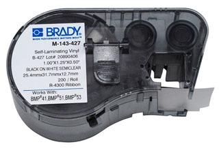 BRADY M-143-427 MSERIES B427 WHT 1-INCH X 1.25-INCH X .5-INCH 200EA 1-INCH CART