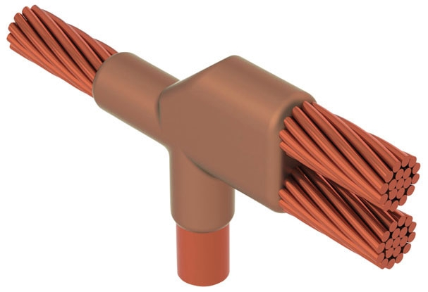 CADDY NCR222C CABLE TO CABLE TO GROUND ROD OR OTHER ROUNDS, NC, COPPER-BONDED, 1IN DIA, 1/0 CONCENTRIC, 1/0 CONCENTRIC