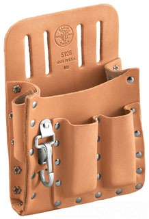 Tool Pouch, Leather, 5-Pockets, Knife Snap