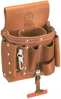 Tool Pouch, Leather, 8-Pockets, Thong, Snap,