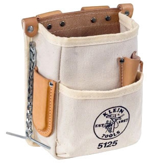 Tool Pouch, Canvas & Leather, 5-Pockets, Tape Thong