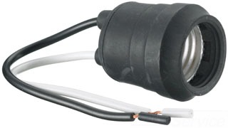 Pigtail Medium Base Socket with Leads 600W 250V Rubber
