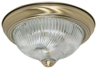 "2 Light - 11"" - Flush Mount - Clear Swirl GlassAntique Brass"
