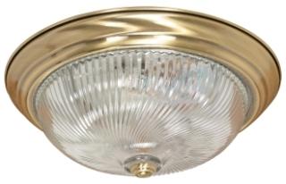 "3 Light - 15"" - Flush Mount - Clear Swirl GlassAntique Brass"