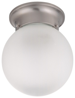 "1 Light 6"" Ceiling Mount w/ Frosted White GlassBrushed"